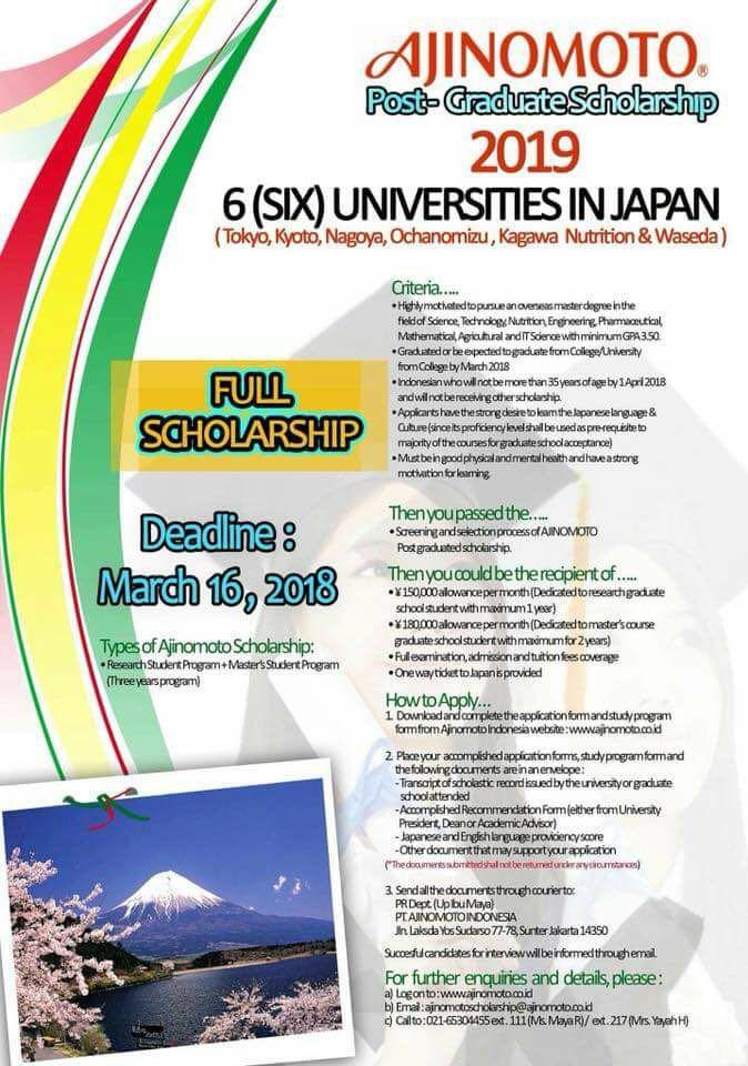 Ajinomoto Post-GraduateScholarship
